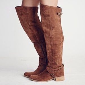 FREE PEOPLE Amorosa Suede Over Knee BOOTS OTK 9.5